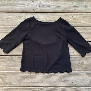 Black scalloped edge blouse